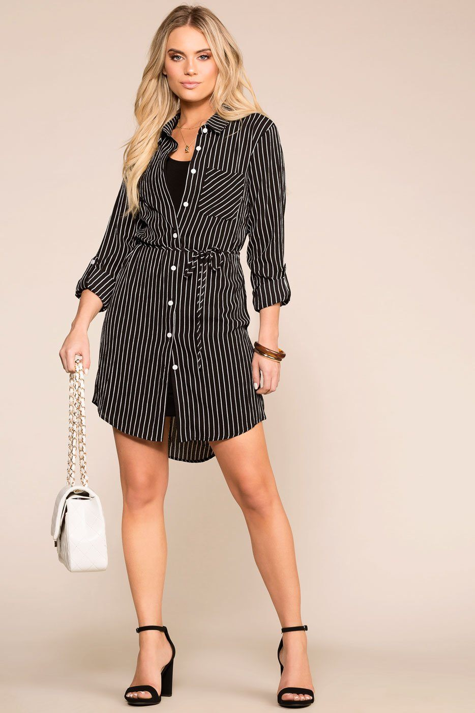 Do It Yourself Black Stripe Button Up Dress | Shop Priceless