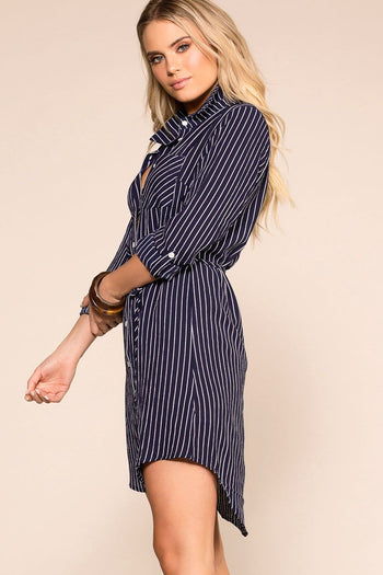 Priceless | Navy Stripe | Button Up Dress | Womens