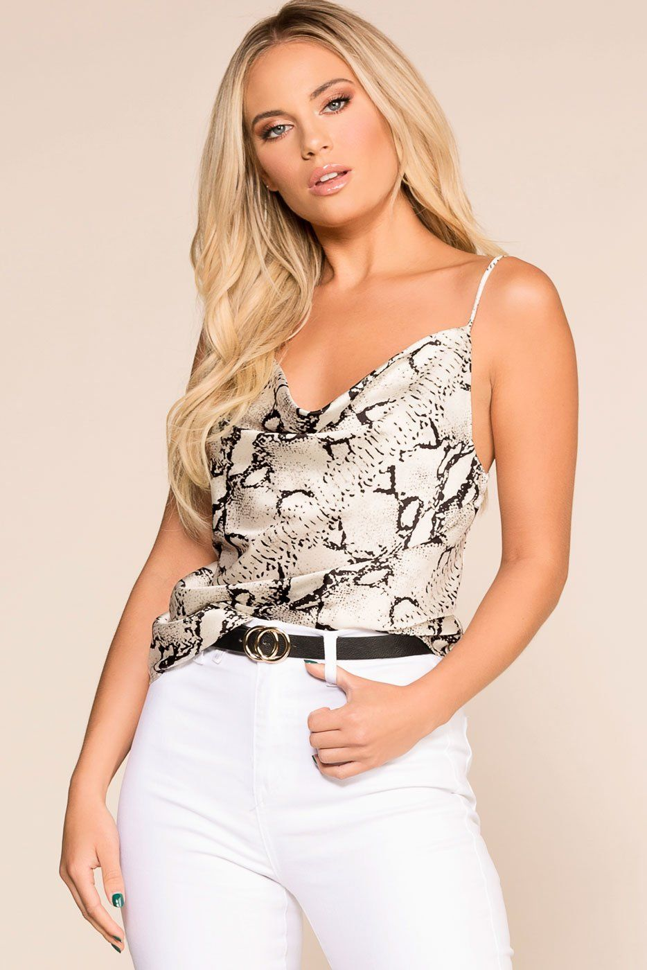 07268d754933f Do Your Thing White Snakeskin Print Cami Top