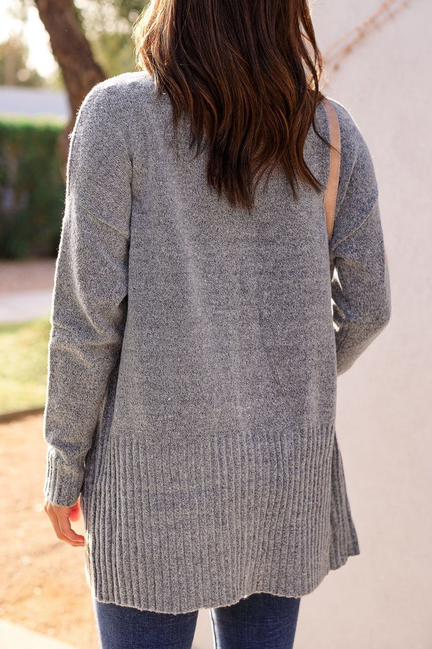 Heather Grey Knit Cardigan