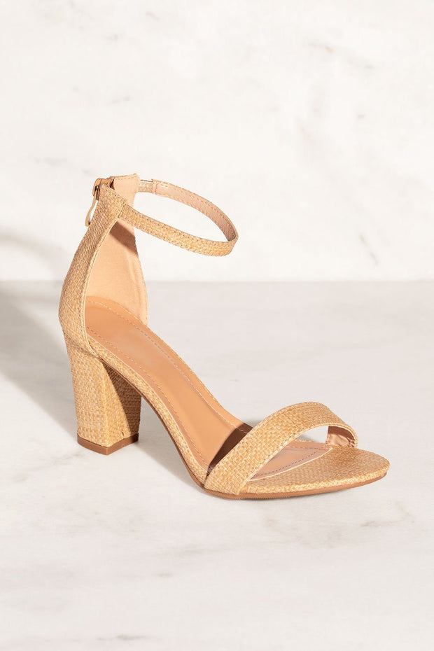 Dream It Beige Raffia Heels