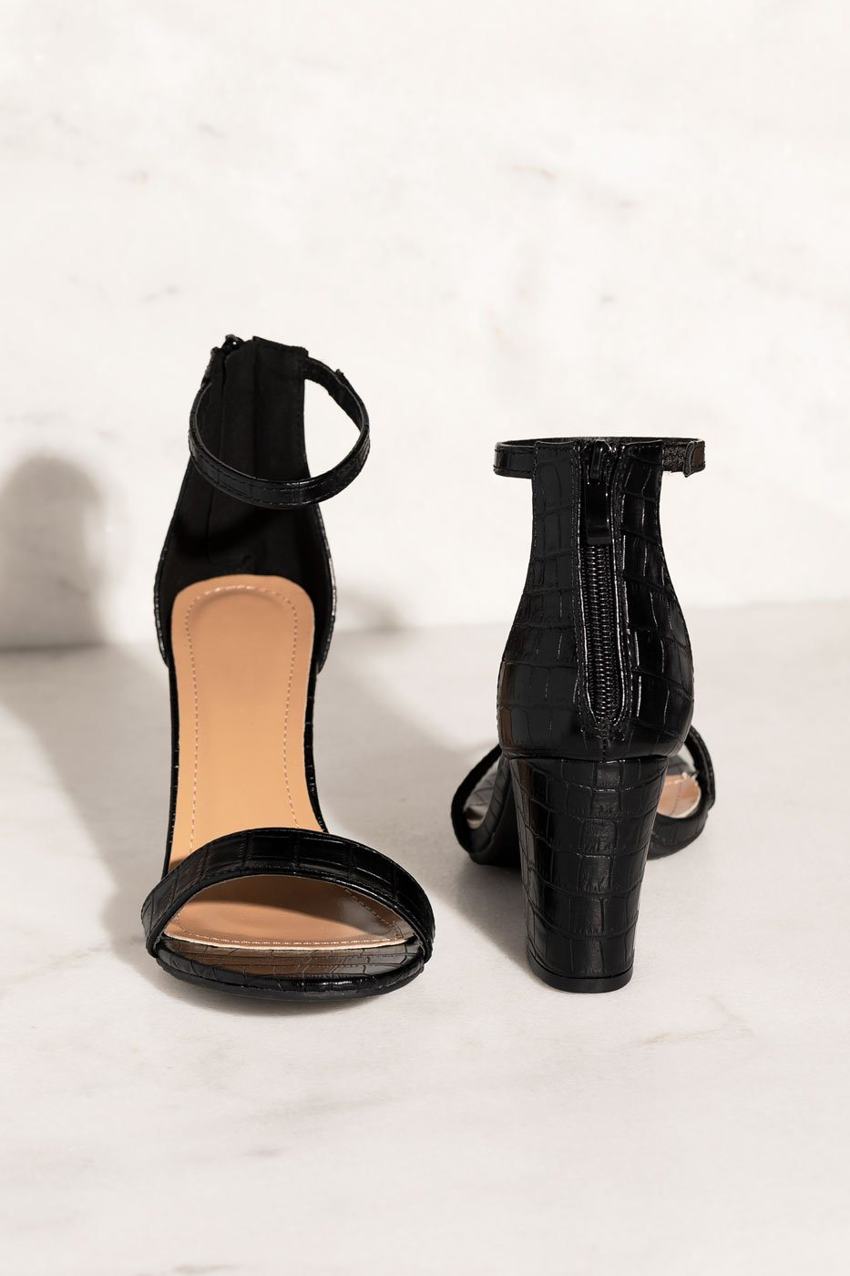 Black Crocodile Heels