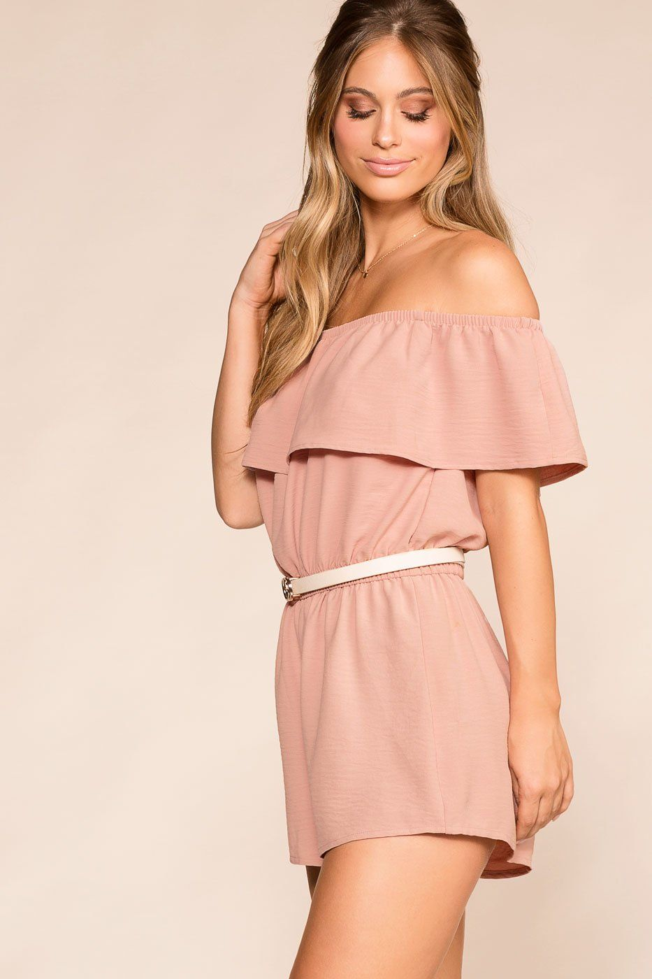 Dream Life Blush Off The Shoulder Romper | Shop Iris Basic