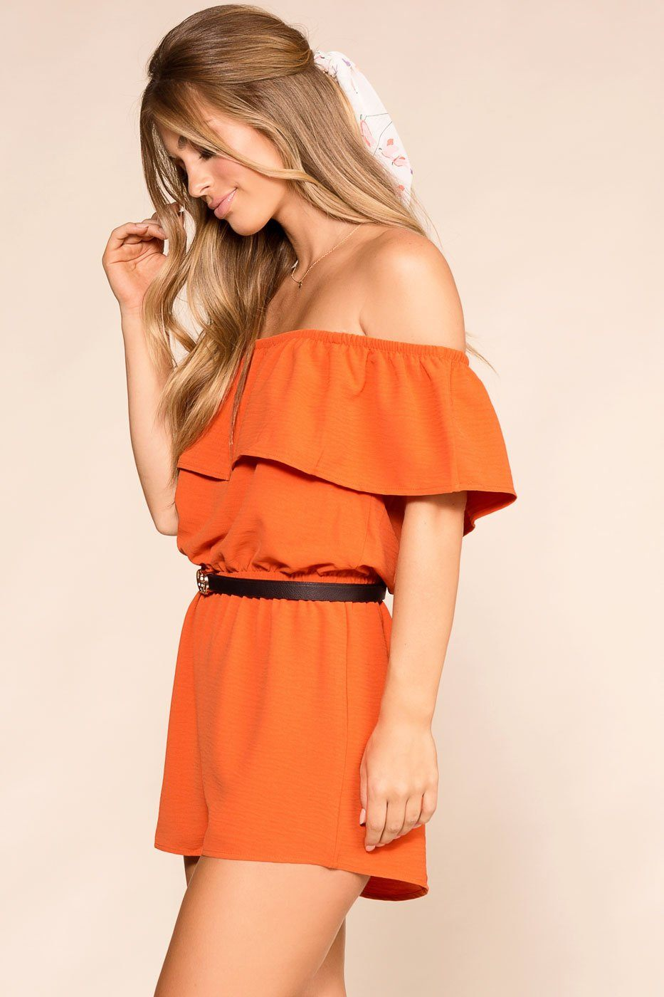 Shop Priceless | Rust | Off The Shoulder | Romper | Womens