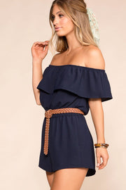 Dream Life Navy Off The Shoulder Romper | Shop Iris Basic