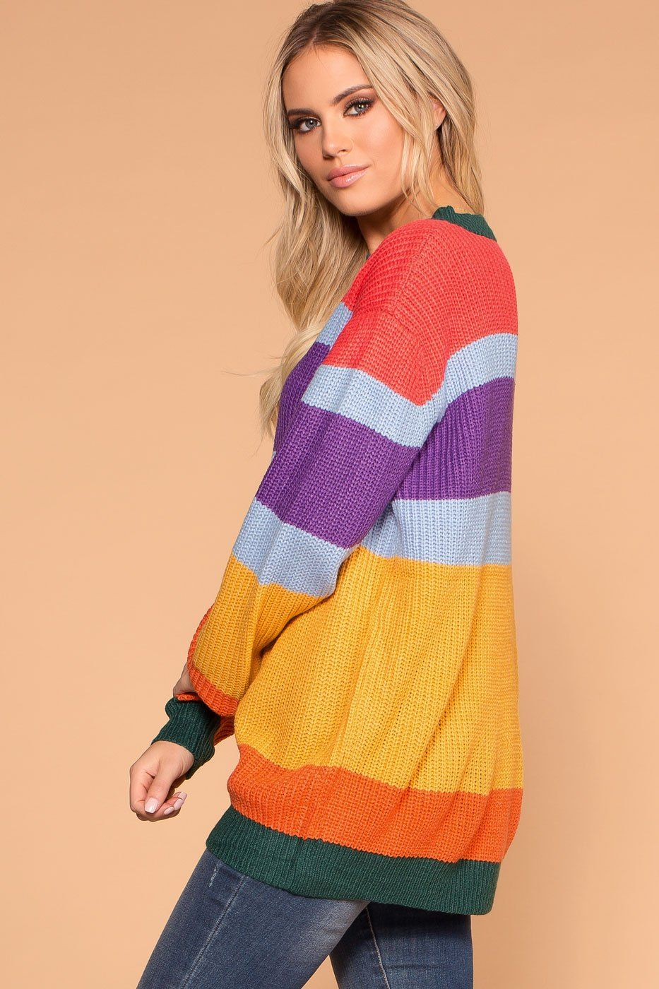 Priceless | Rainbow | Color Block Knit Sweater | Womens