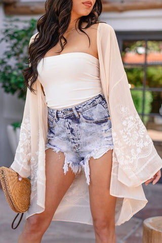 Drawn To You White Chiffon Sleeve Top