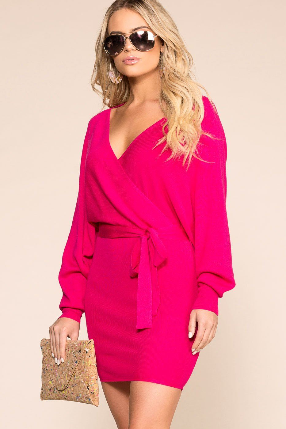 Wife Dresses To Impress  Hot Pink Wrap Dress