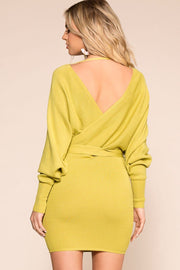 Lime Long Sleeve Wrap Dress