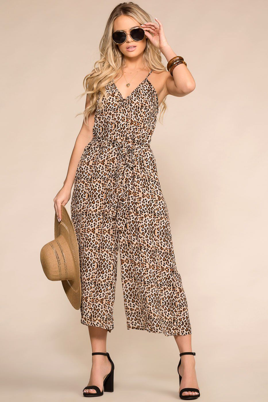 Leopard Print Jumpsuit with Culotte Pants