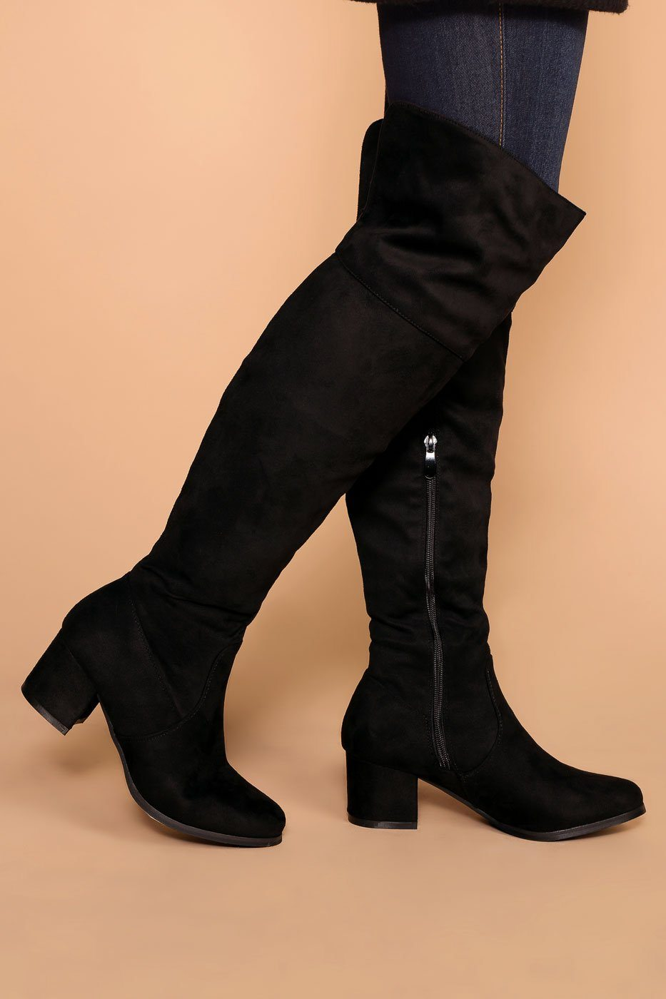 4e5922cbfed Dublin Black Block Heel Over The Knee Boots