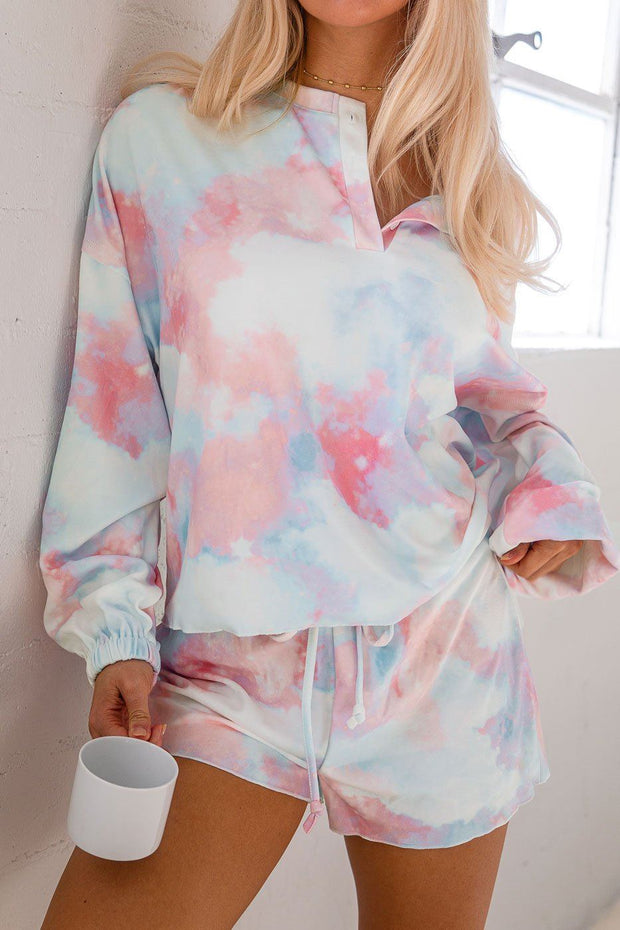 Sweet Tooth Pink and Blue Tie-Dye Long Sleeve Top