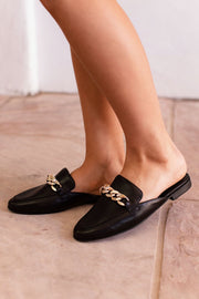 Black Slide On Loafers