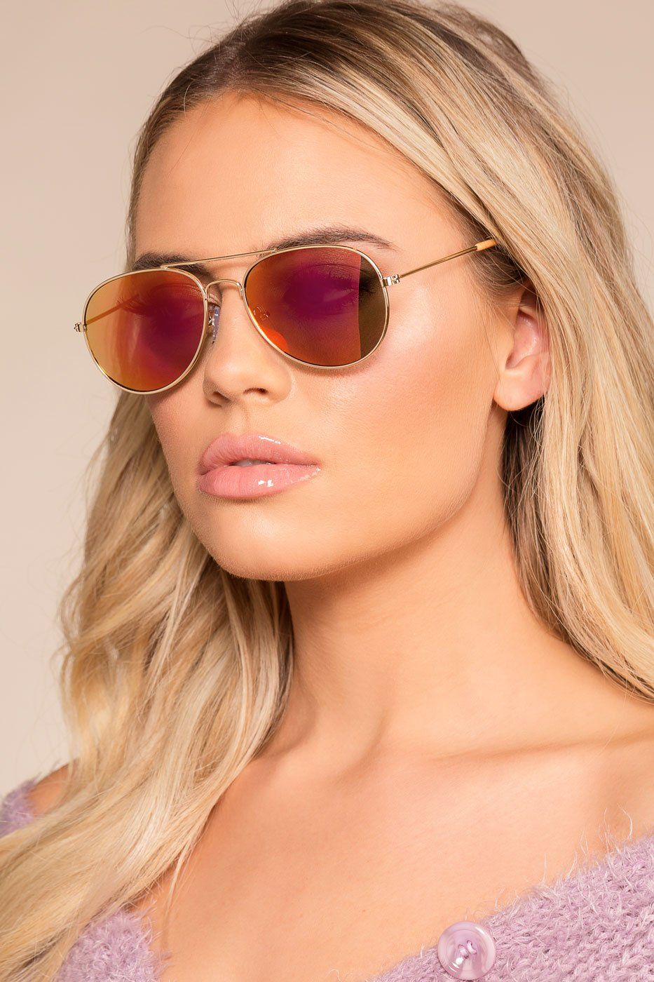 4190c696b5 Eastern Sky Rose Gold Mirrored Aviator Sunglasses