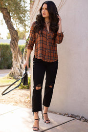 Rust Plaid Top