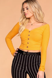 Priceless | Buttons | Off The Shoulder Top | Crop Top | Yellow | Womens