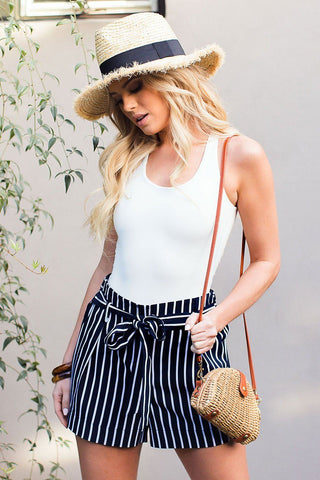 Nautical Stripe High Waisted Shorts