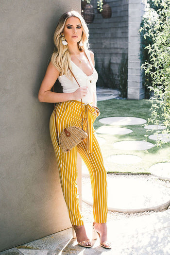 Clean Mustard Striped High Waisted Tie Pants | Mosaic