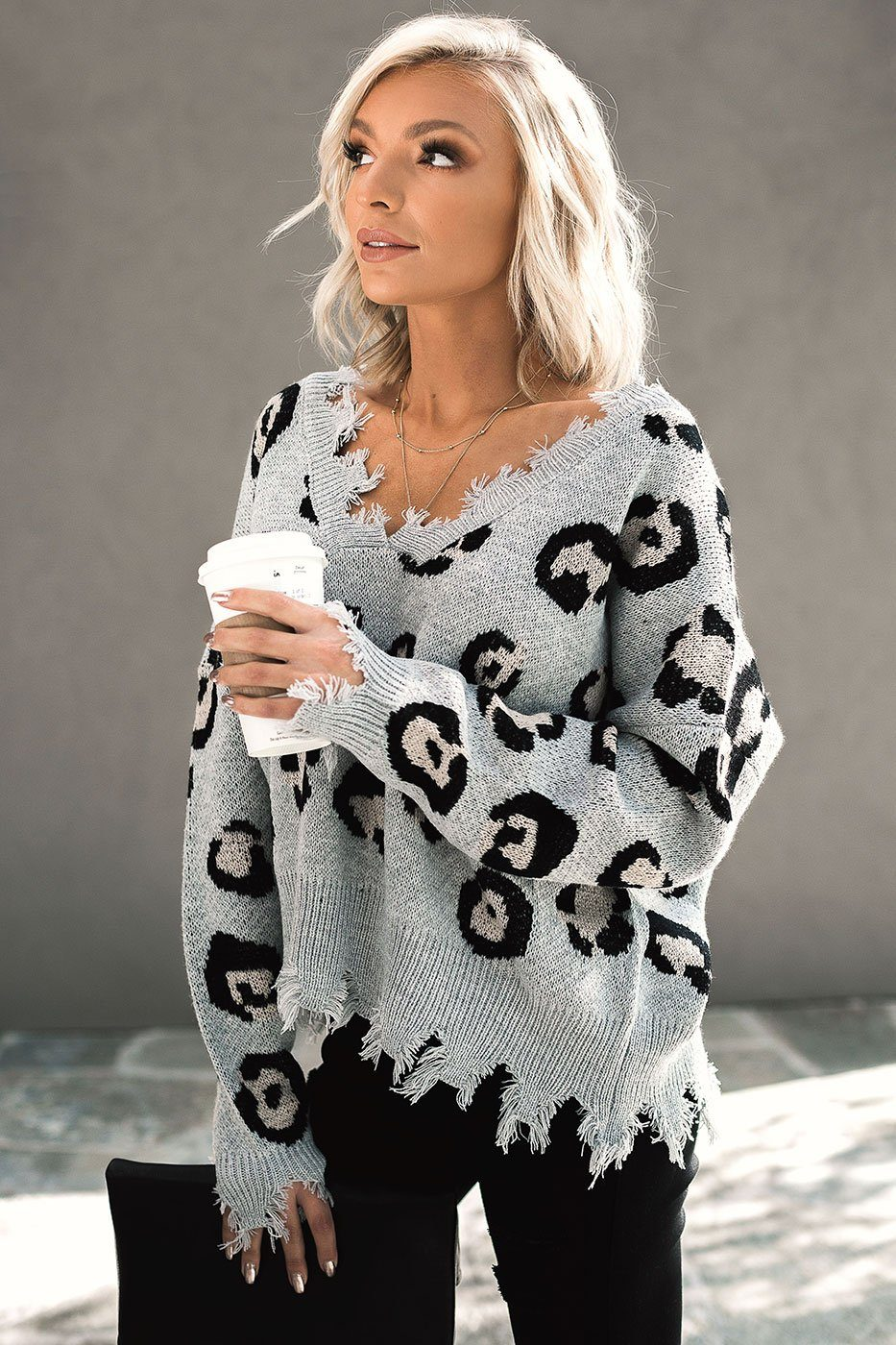 Grey Leopard Distressed Sweater