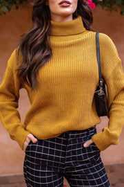 Mustard Knit Turtleneck Sweater