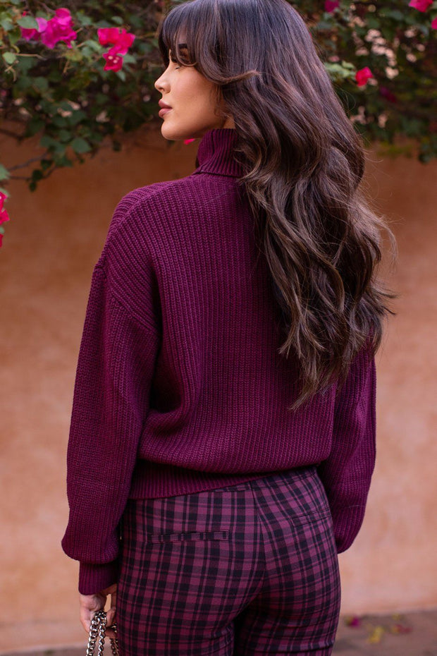 Wine Knit Turtleneck Sweater