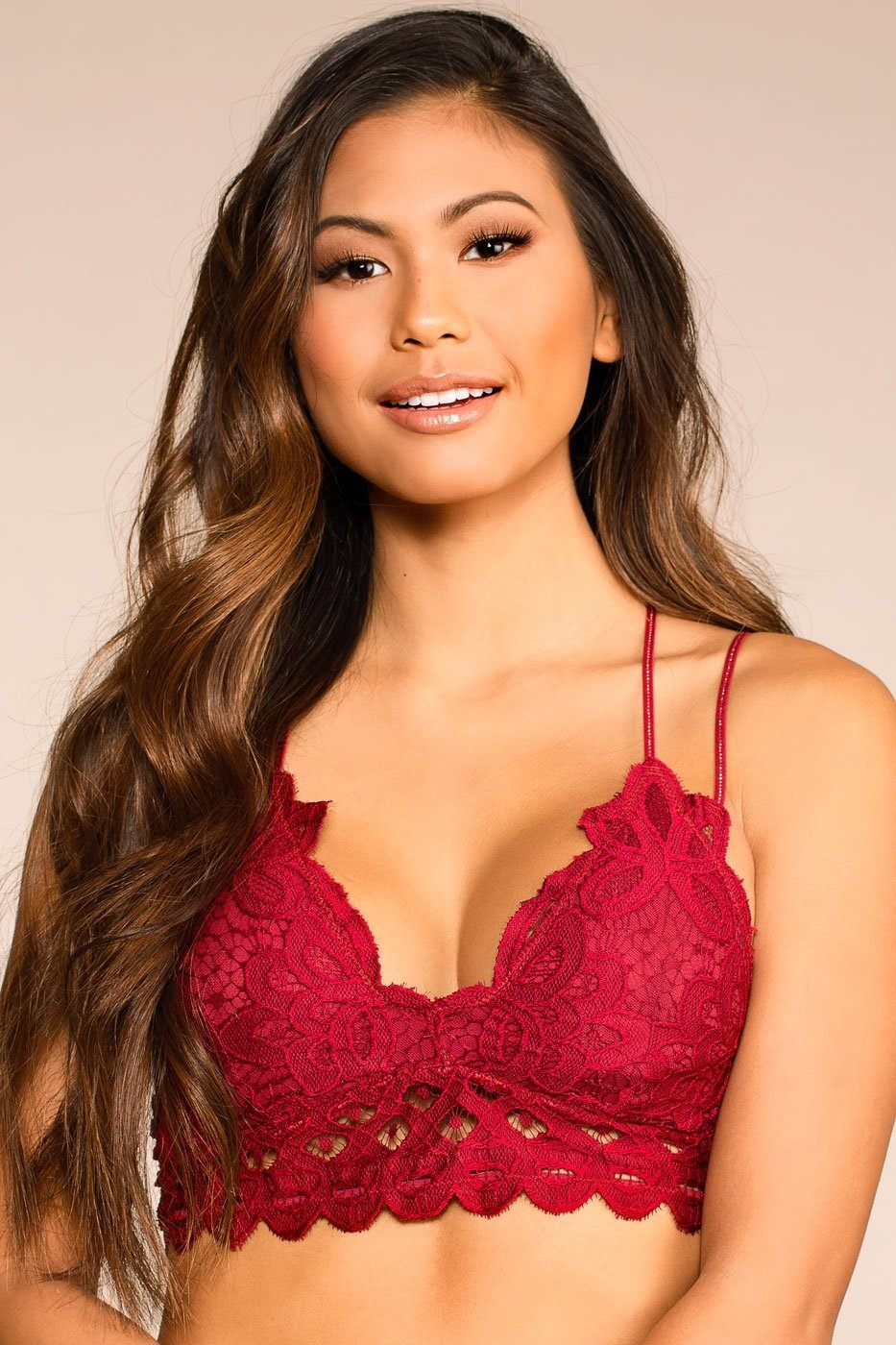 Elise Cherry Red Lace Bralette | Anemone