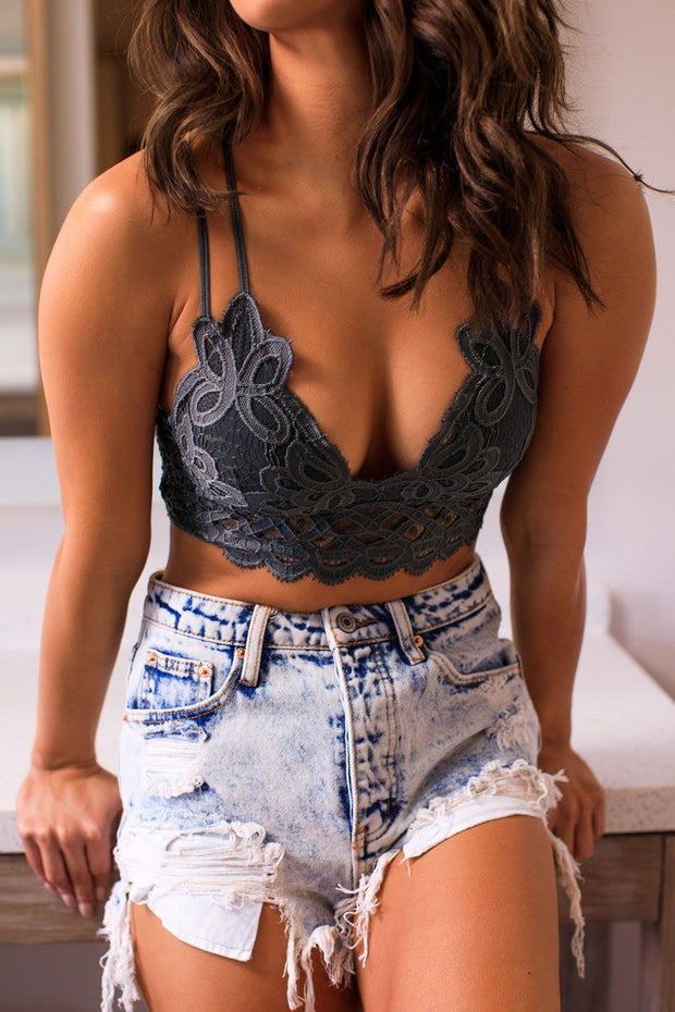 Dark Grey Lace Bralette