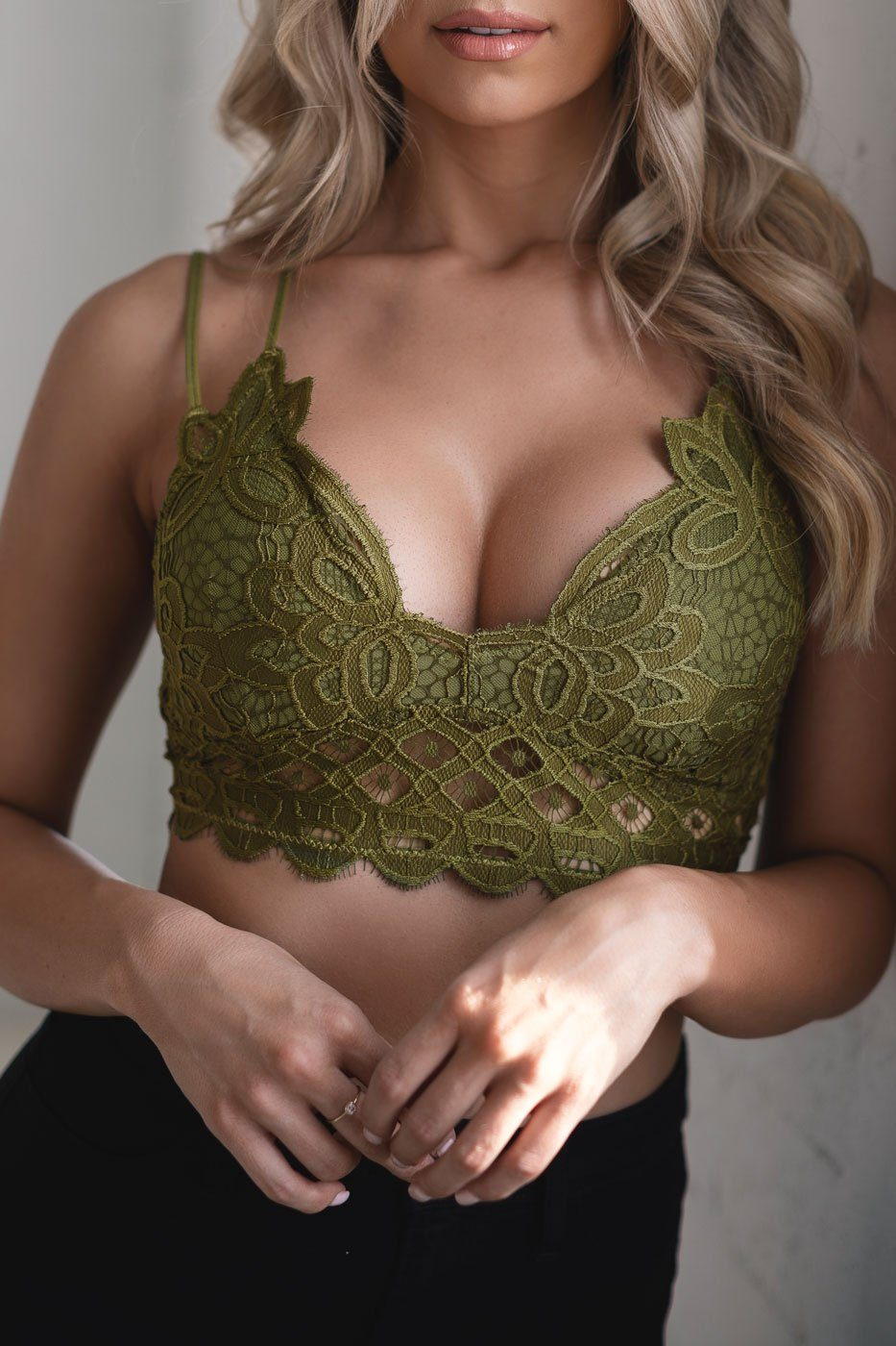 Lace Olive Green Bralette