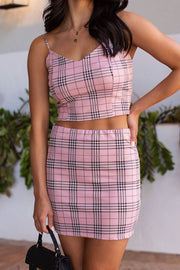 Pink Plaid Pencil Skirt