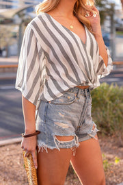 Charcoal Striped Wrap Top