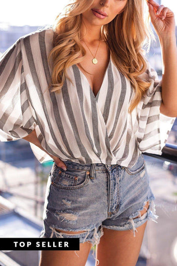 Ellis Charcoal Striped Wrap Top
