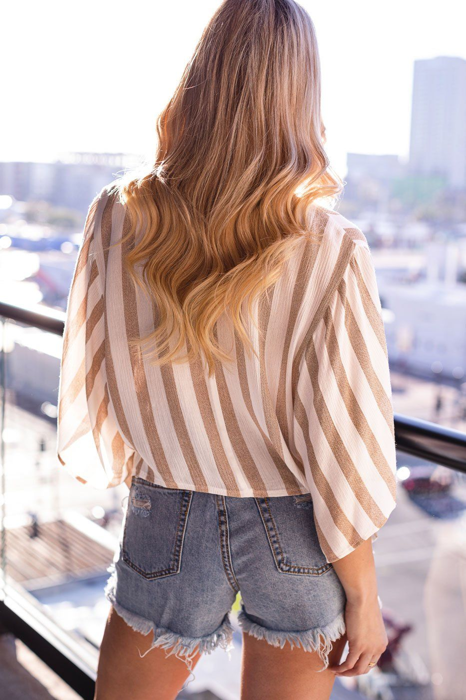 Taupe Striped Wrap Top