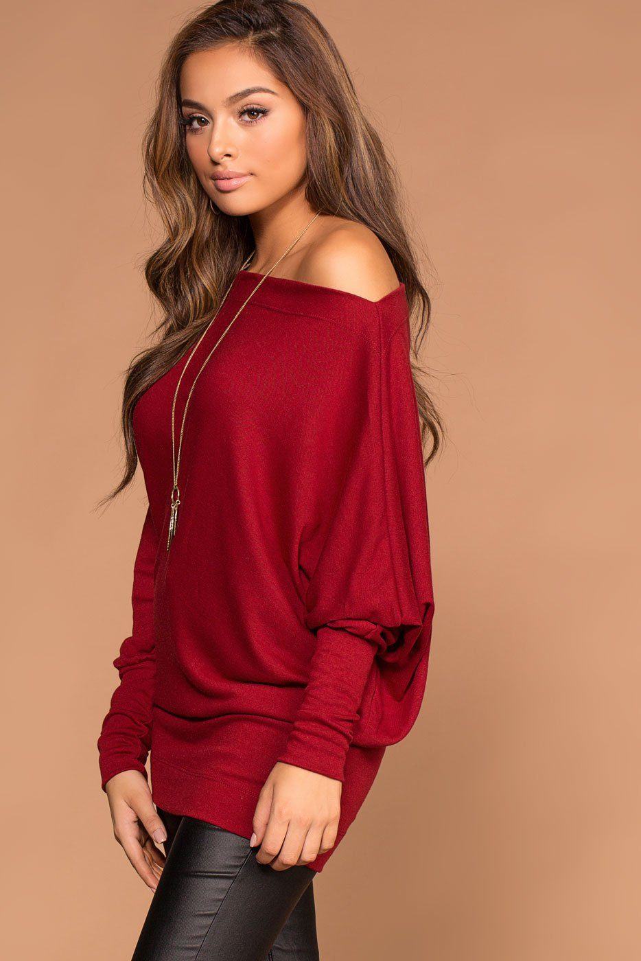 Ellison Off The Shoulder Burgundy Knit Sweater Top | Shop Priceless