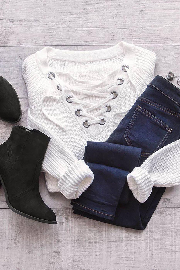 Elsa Lace Up Sweater - Ivory