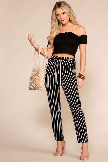 Black Striped High Waisted Pants