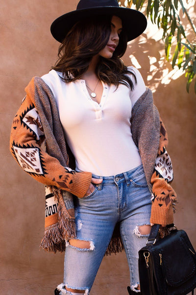 Rust Patterned Cardigan