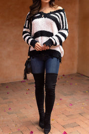 Black and White Distressed Knit Sweater