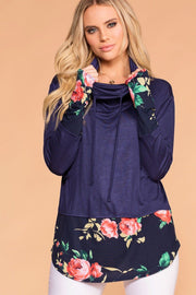 Navy Floral Long Sleeve Drawstring Pullover Top
