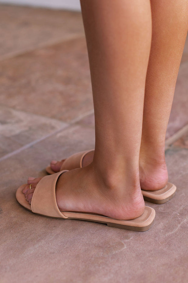 Tan Slide-On Sandals