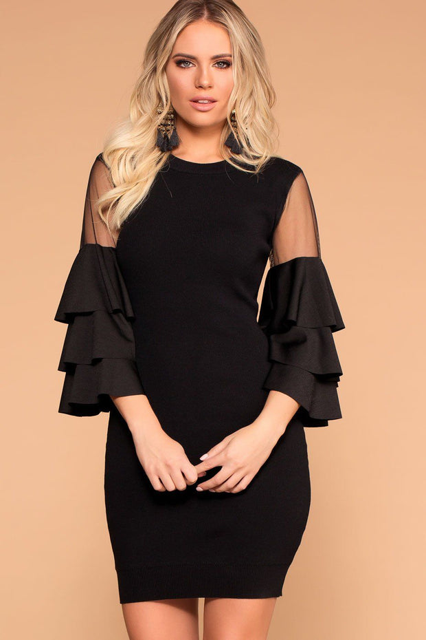 Black Mesh Ruffle Sleeve Dress