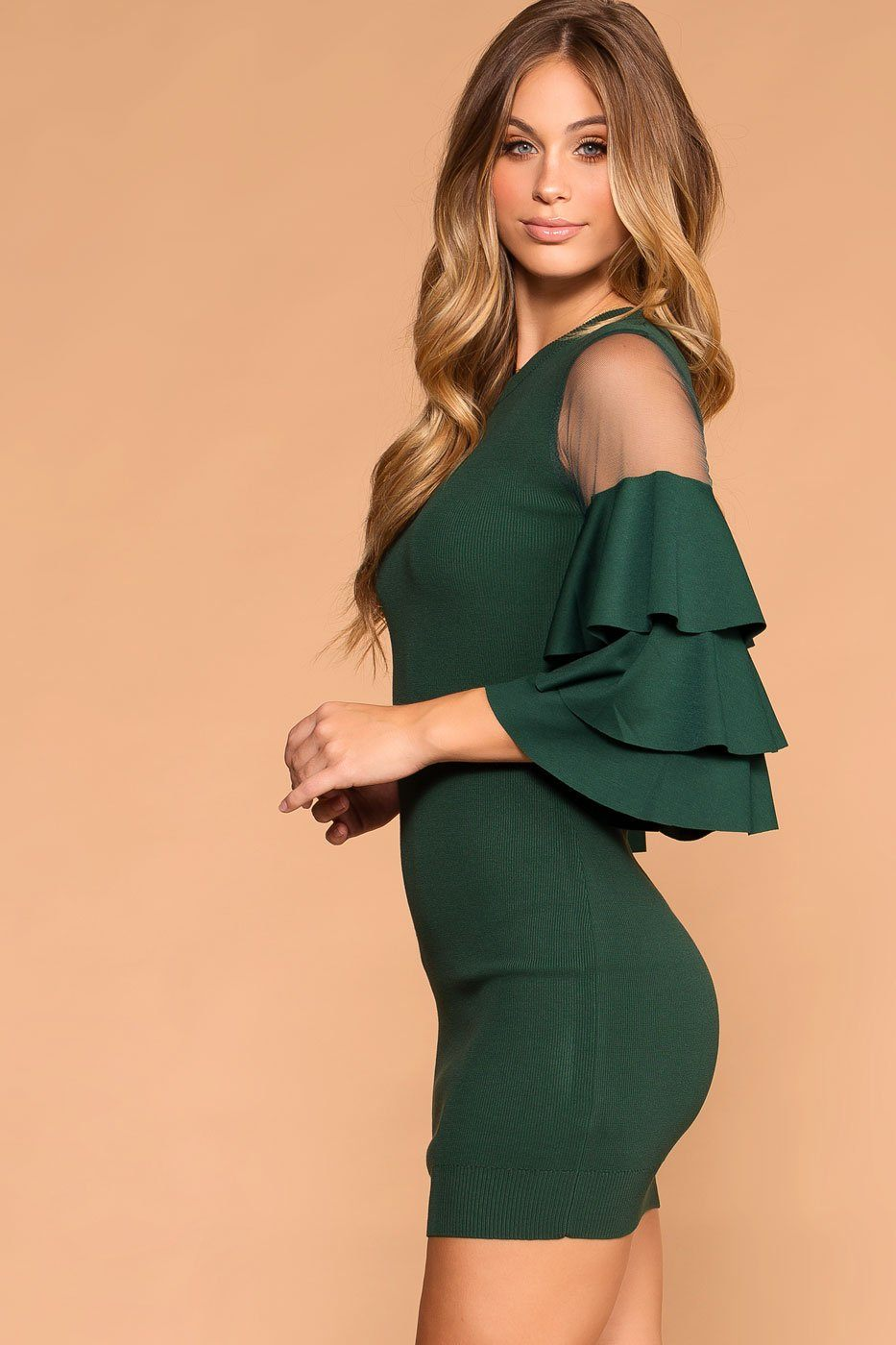 2be80048d6fb2 Priceless | Hunter Green | Ruffle Sleeve Dress | Bodycon | Womens