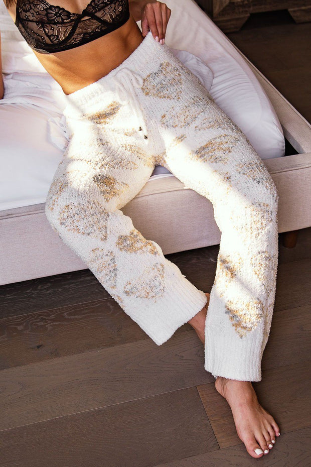 Heart Pattern Fuzzy Lounge Pants