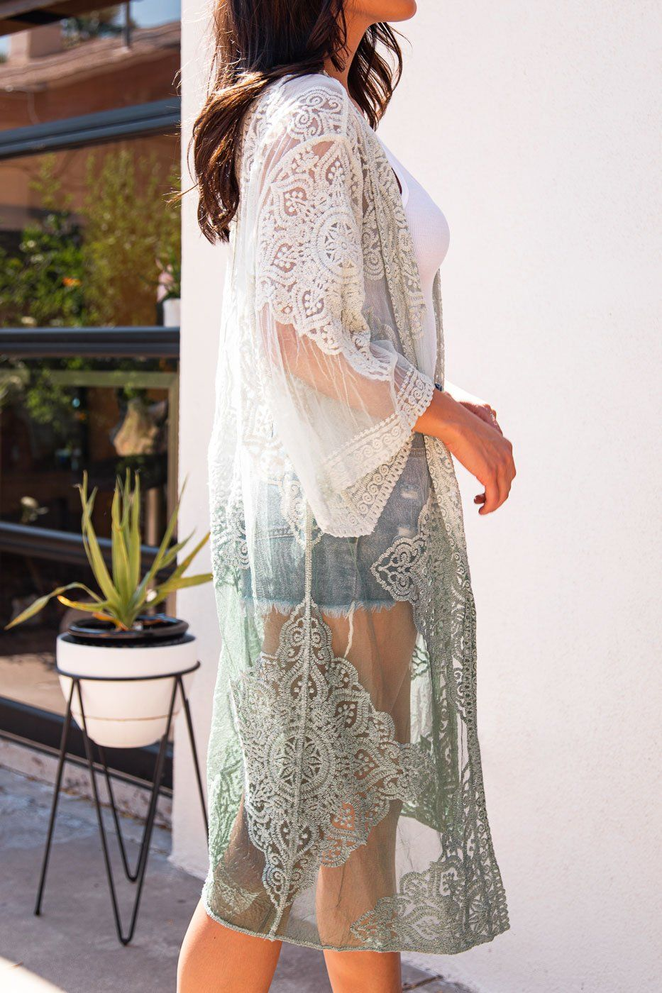 English Rose Sage Green Lace Kimono