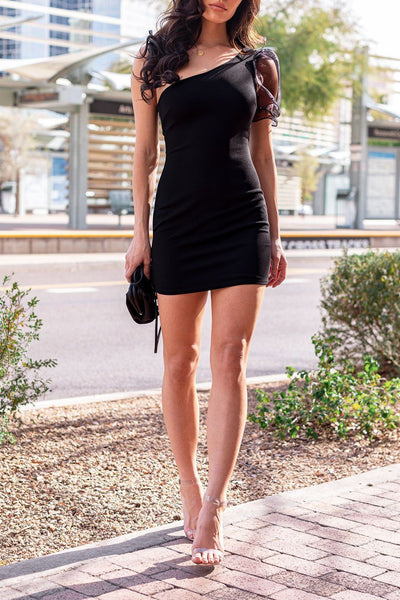 Black Asymmetrical Organza Sleeve Dress