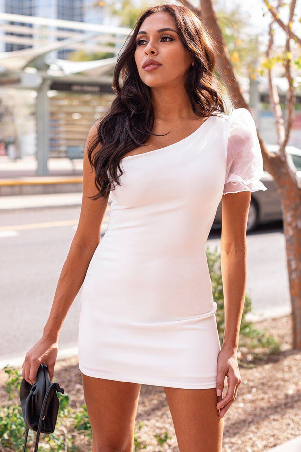 White Asymmetrical Organza Sleeve Dress