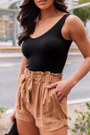 Erica Light Clay and Black Ribbed Crop Tank Top Bundle