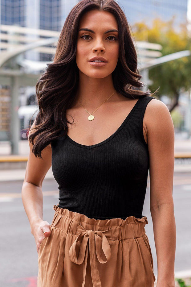 Black Ribbed Crop Tank Top