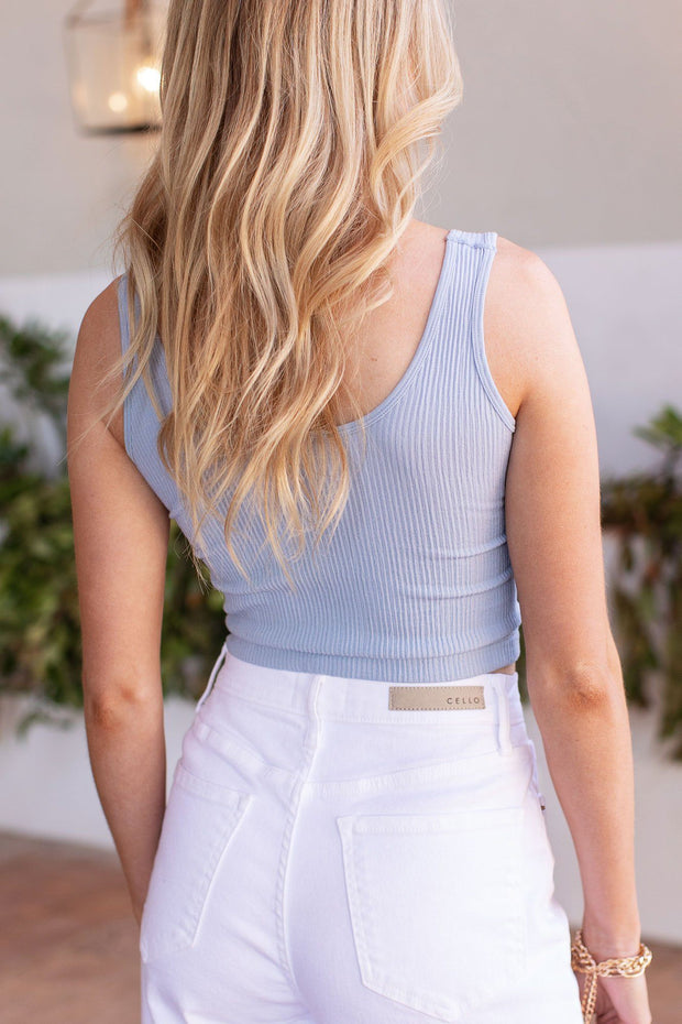 Light Blue Ribbed Crop Tank Top