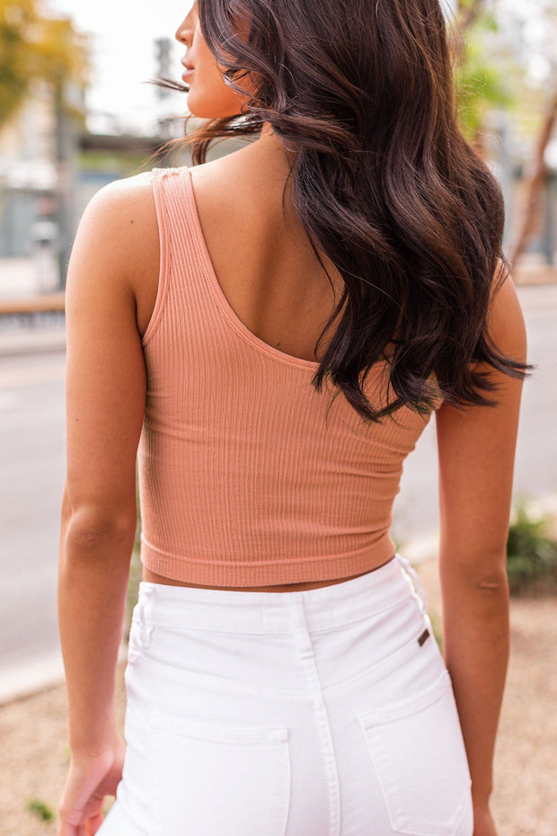 Clay Ribbed Crop Tank Top