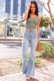 Olive Ribbed Crop Tank Top